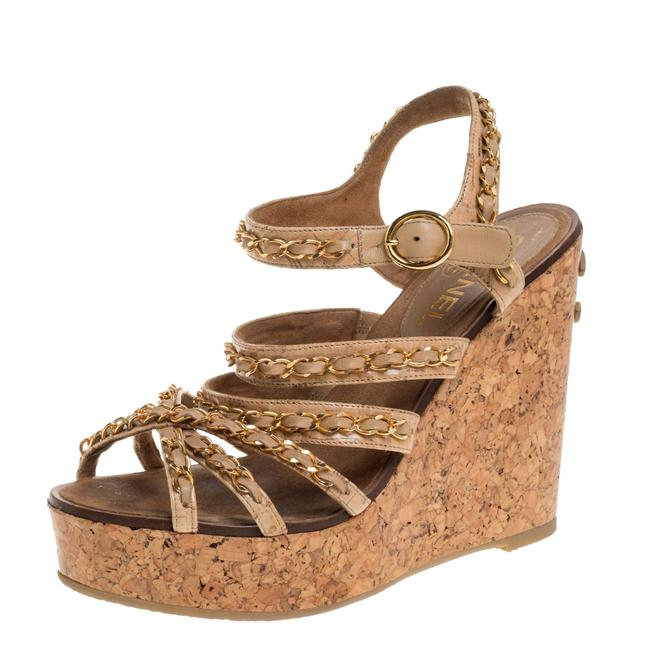 Item - Beige Leather Chain Link Cc Wedge Ankle Strap Size 38 Sandals