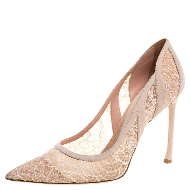Item - Chantilly Pink Lace and Suede Pointed Size 41 Pumps
