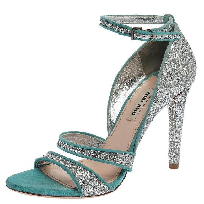 Item - Silver/Blue Coarse Glitter and Suede Trims Open Toe Ankle Strap Size 38 Sandals