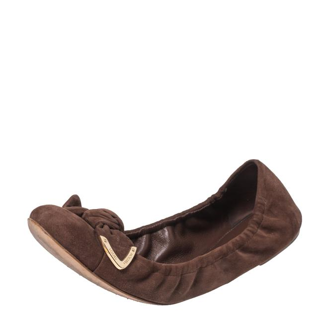 Item - Brown Suede Leather Bow Knot Scrunch Ballet Size 38 Flats