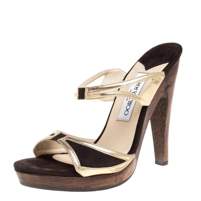 Item - Brown/Gold Leather and Suede Henri Wooden Slide Size 37 Sandals