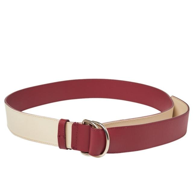 Item - Wine Red/Ivory Leather Double D Ring Reversible Belt