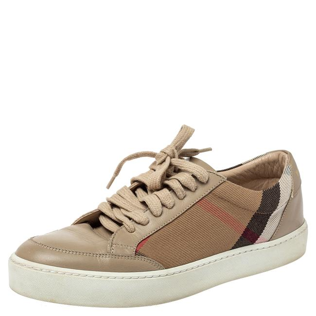 Item - Beige Leather and Nova Check Canvas Low Top Sneakers Size 38 Athletic