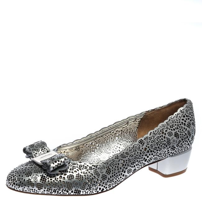Item - Metallic Grey Perforated Leather Varina Bow Ballet Size 38.5 Flats