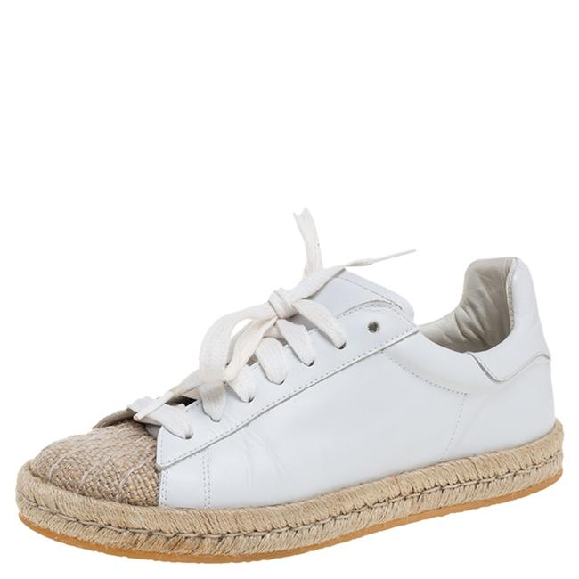 Item - White Leather and Jute Cap Toe Espadrilles Low Top Sneakers Size 37 Athletic