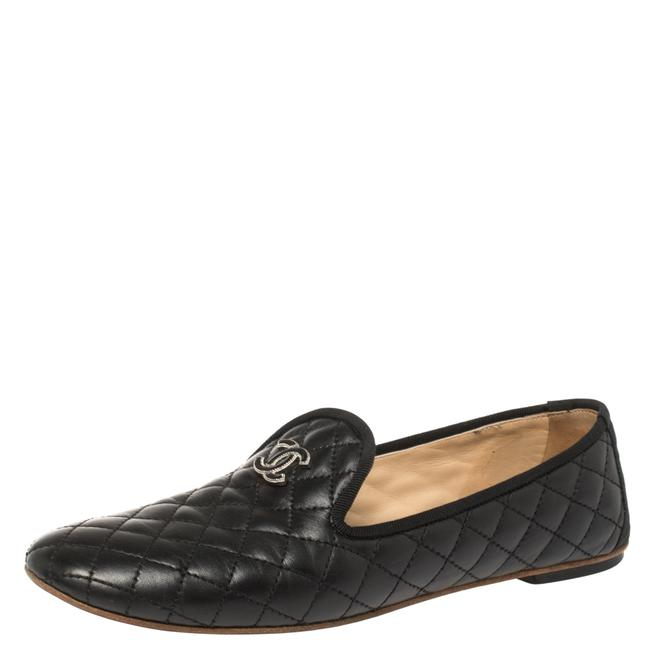 Item - Black Quilted Leather Cc Smoking Slippers Size 39 Loafers