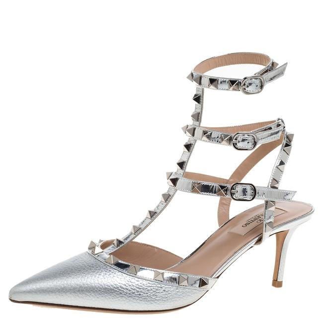 Valentino Metallic Silver Leather and Patent Leather Rockstud Ankle Strap Size 40 Sandals Valentino Metallic Silver Leather and Patent Leather Rockstud Ankle Strap Size 40 Sandals Image 1