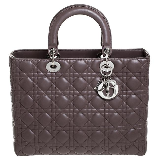 Item - Lady Light Brown Cannage Quilted Leather Large Tote