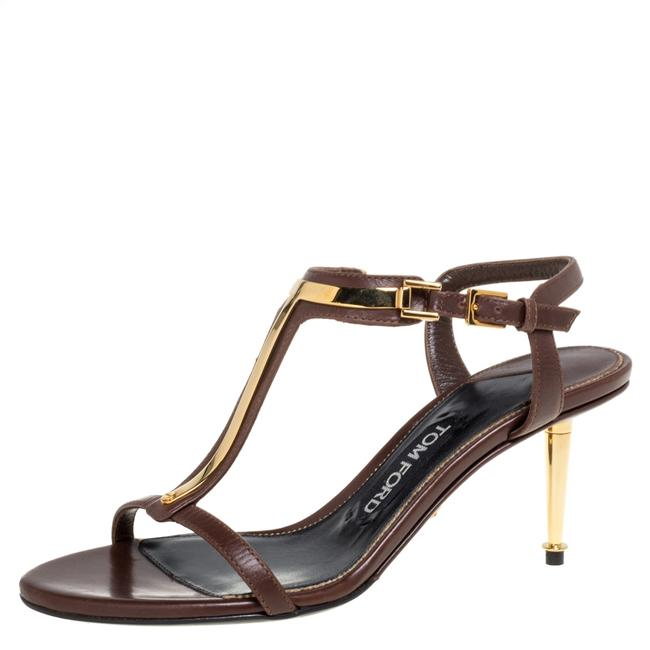 Item - Dark Brown Leather T Bar Ankle Strap Size 37 Sandals