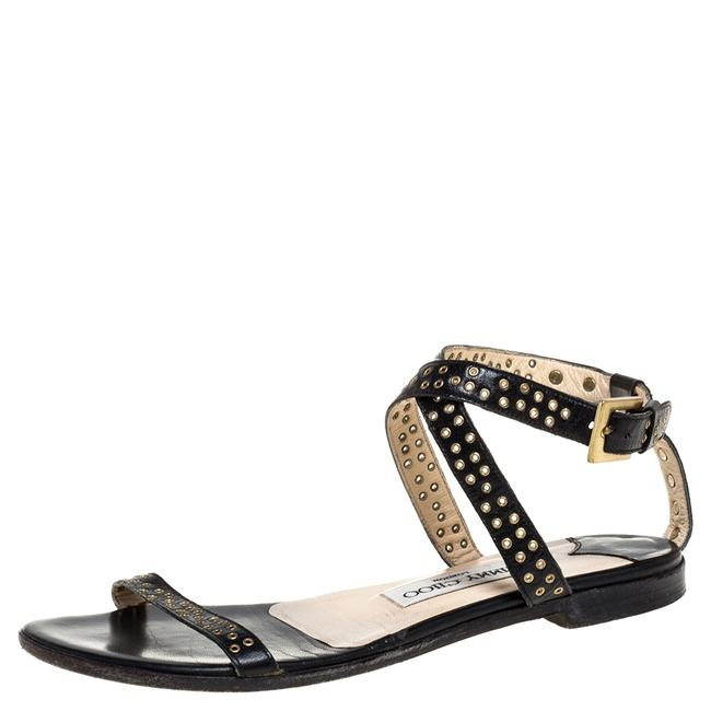 Item - Black Leather Open Toe Studded Size 36.5 Flats