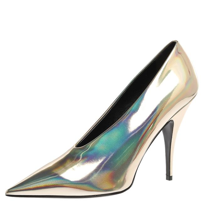 Item - Holographic Gold Faux Glossy Leather V Neck Pointed Size 40.5 Pumps