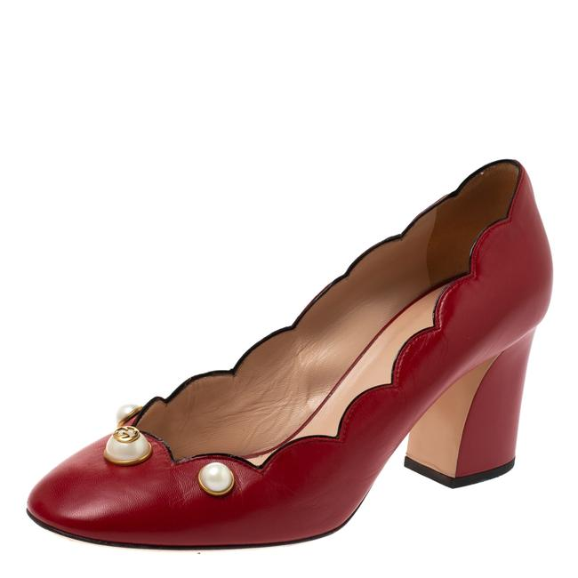 Item - Red Leather Willow Faux Pearl Embellished Size 40 Pumps
