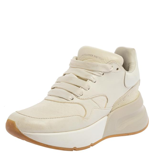 Item - White Leather and Fabric Oversized Runner Low Top Sneakers Size 36 Athletic