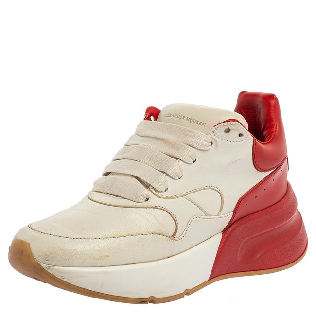Item - White/Red Leather Oversized Runner Low Top Sneakers Size 36 Athletic