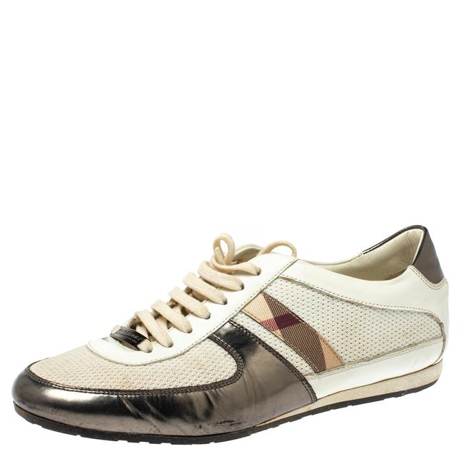 Item - White Leather and Mesh Low Top Sneakers Size 37 Athletic