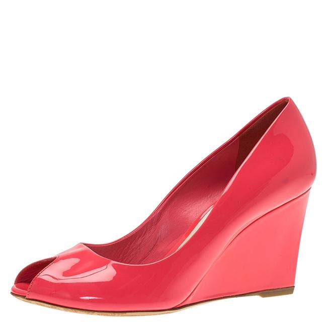 Item - Candy Pink Patent Peep Toe Wedge Size 38.5 Pumps