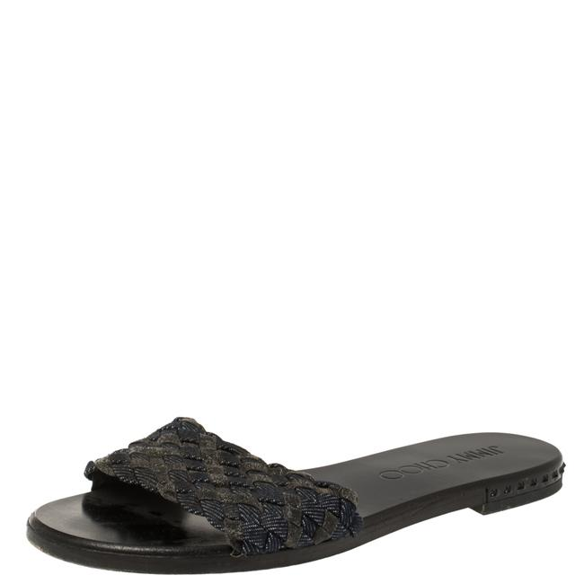 Item - Blue/Grey Fabric and Glitters Slide Size 37 Sandals