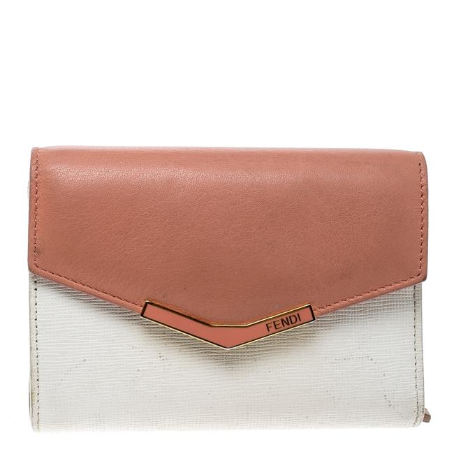 Item - White/Peach Leather Small 2jours Wallet