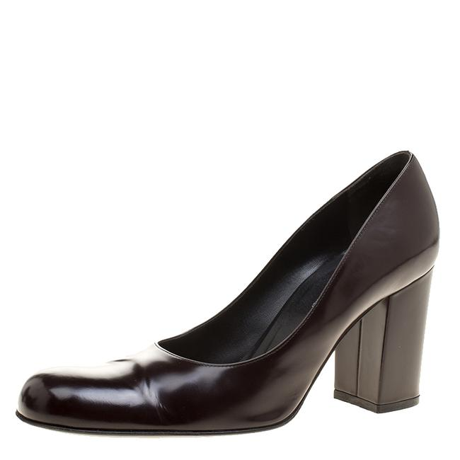 Item - Dolce & Gabbana Dark Brown Patent Leather Block Size 38 Pumps