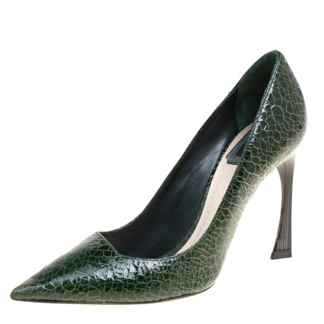 Item - Green Crackled Leather Pointed Size 38 Pumps