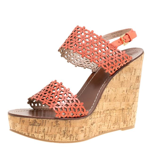 Item - Coral Red Perforated Leather Daisy Cork Wedge Size 41 Sandals