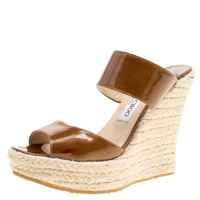 Jimmy Choo Brown Patent Leather Espadrille Wedge 38 Slides Jimmy Choo Brown Patent Leather Espadrille Wedge 38 Slides Image 1