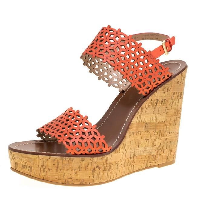 Item - Coral Red Perforated Leather Daisy Cork Wedge Size 40.5 Sandals