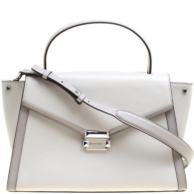Item - Grey Leather Large Whitney Top Handle Satchel