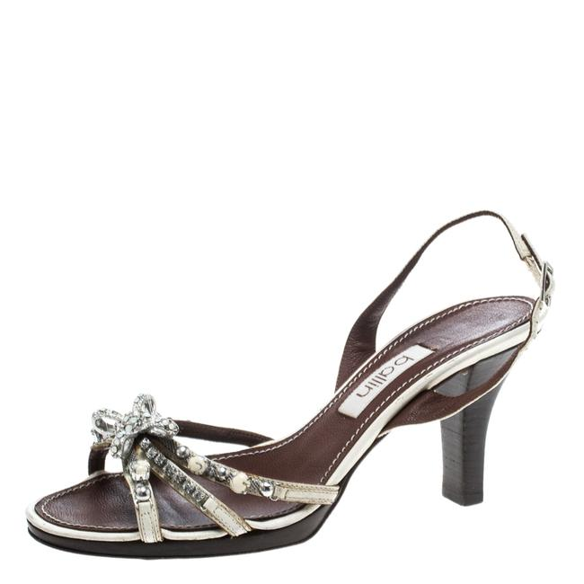 Item - White Strappy Leather Crystal Embellished Slingback Size 37 Sandals