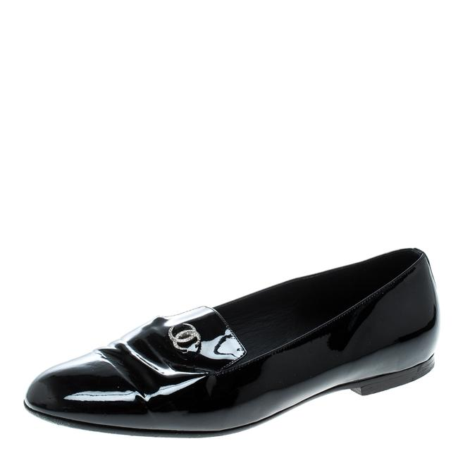 Item - Black Patent Leather Cc Smoking Slippers Size 38 Loafers