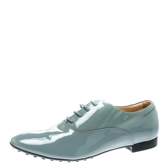 Item - Grey Patent Leather Lace Up Oxford Size 40 Flats