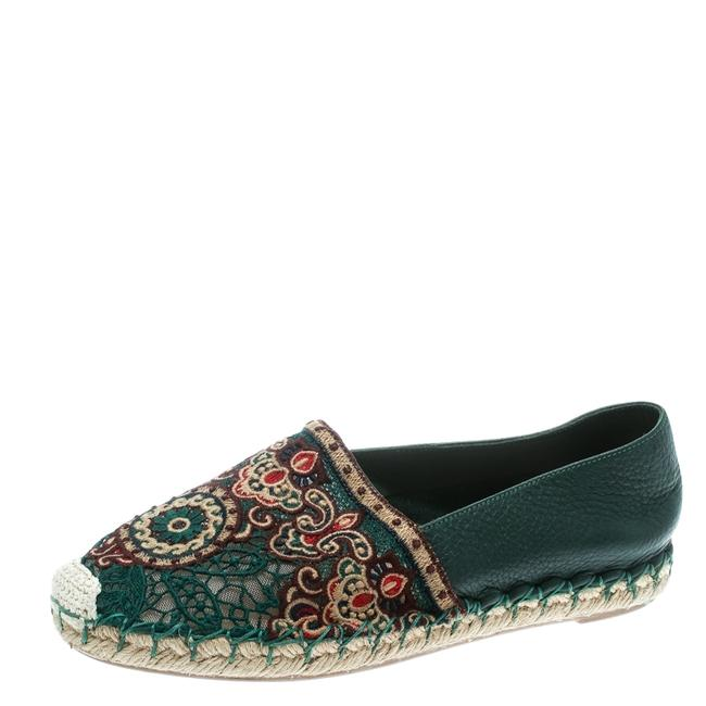 Item - Green Embroidered Leather Espadrilles Size 35 Flats
