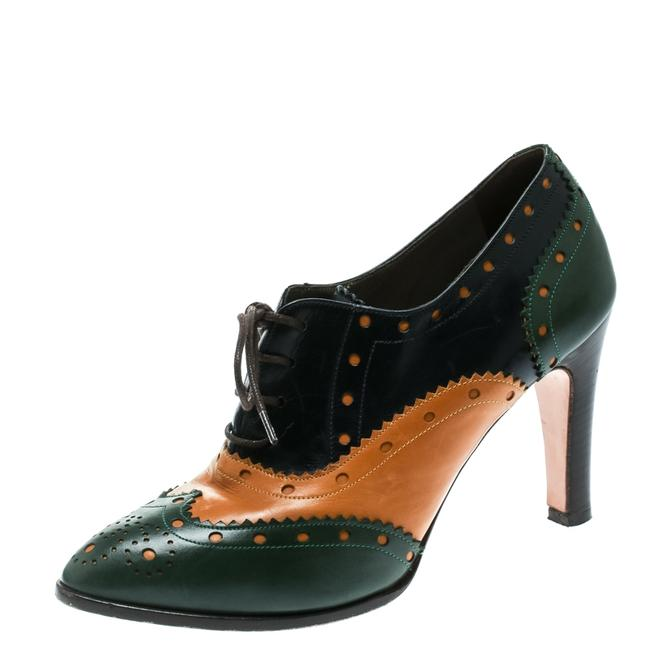 Item - Tricolor Leather Brogue Oxford Ankle Size 38 Boots/Booties