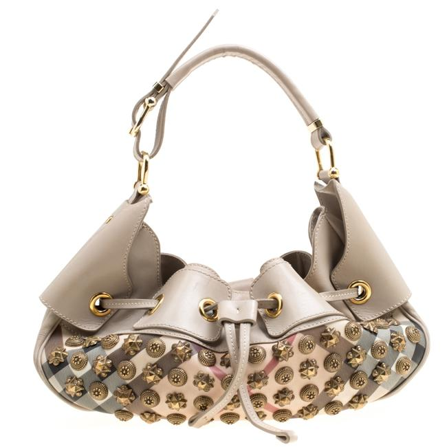 Item - Super Nova Check Pvc and Leather Mini Warrior Studded Hobo Bag