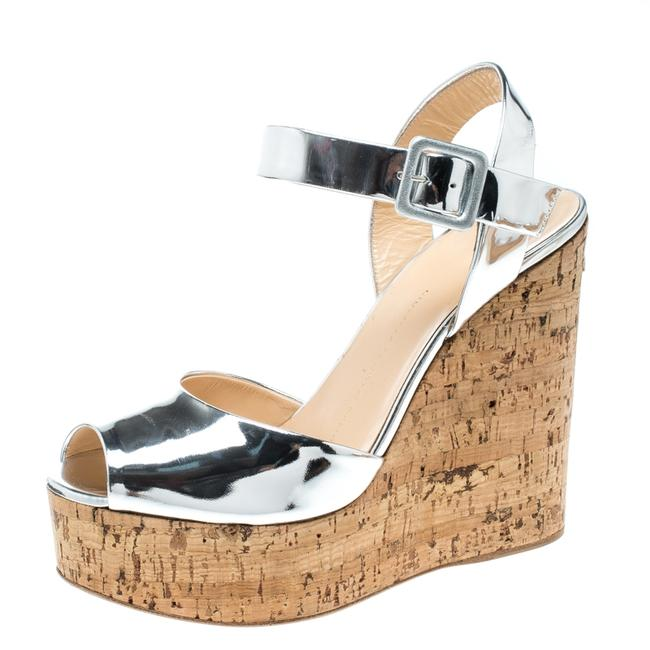 Item - Silver Patent Leather Cork Platform Wedge Size 37.5 Sandals