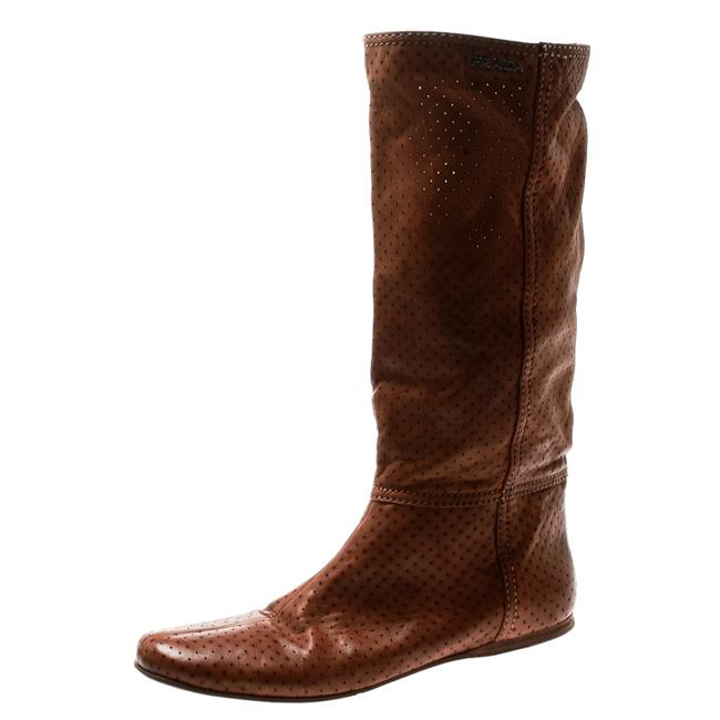 Item - Brown Perforated Leather Mid Calf Flat Size 39 Boots/Booties