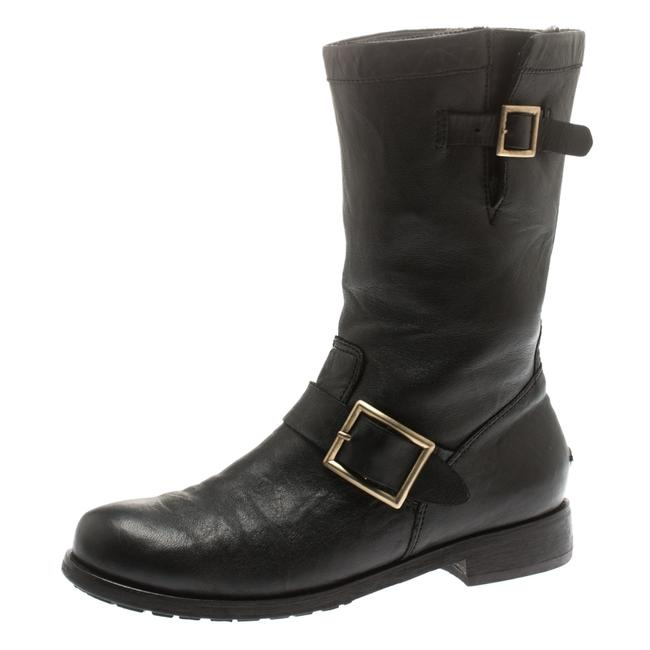 Item - Black Leather Youth Biker Mid Calf Size 37.5 Boots/Booties