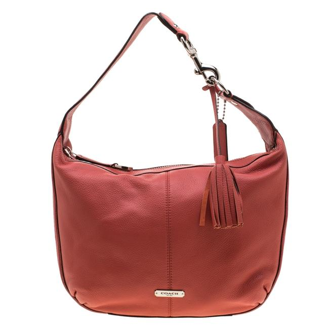 Item - Coral Leather Small Avery Hobo Bag