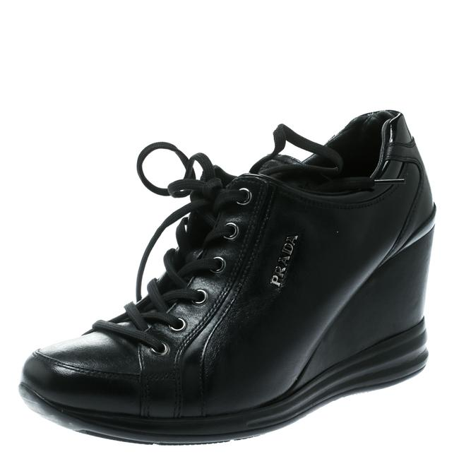 Item - Black Leather Wedge Sneakers Size 39 Athletic