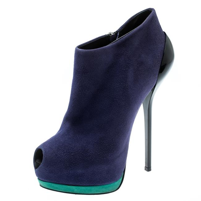 Item - Tricolor Suede Lacquered Heel Peep Toe Platform Ankle Size 36 Boots/Booties