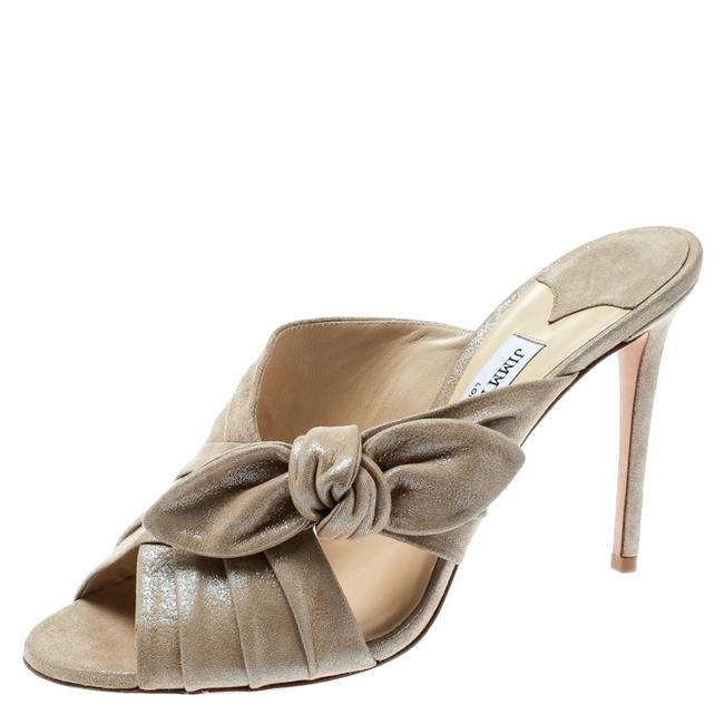 Jimmy Choo Metallic Beige Textured Suede Keely Knotted Bow Peep Size 41 Slides Jimmy Choo Metallic Beige Textured Suede Keely Knotted Bow Peep Size 41 Slides Image 1