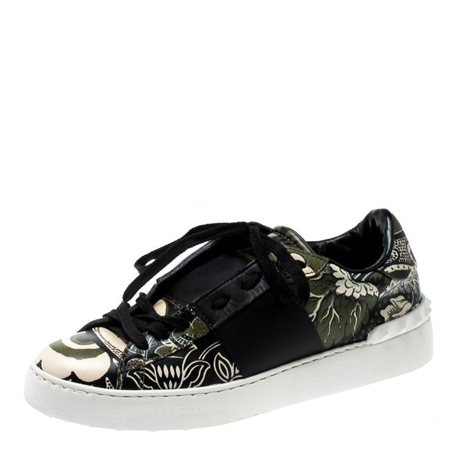 Item - Green/Beige Floral Printed Leather Open Sneakers Size 39 Athletic