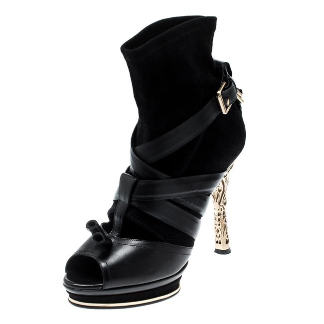 Item - Black Leather and Suede Open Toe Platform Size 38 Boots/Booties