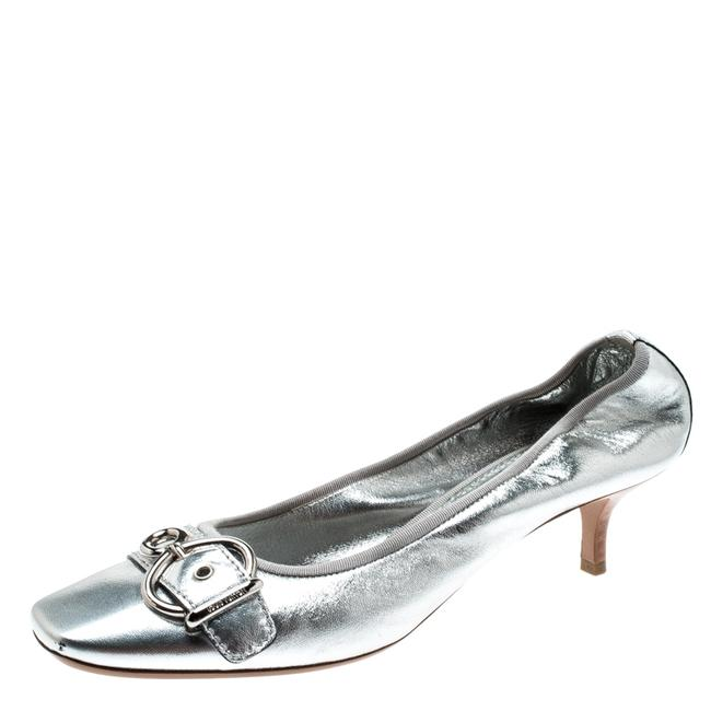 Item - Metallic Silver Leather Buckle Detail Size 40.5 Pumps