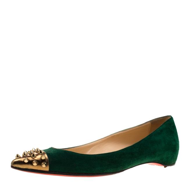 Item - Geen Suede and Metallic Gold Spike Cap Toe Geo Pointed Toe Ballet Size 37 Flats