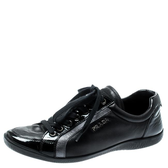 Item - Black Leather Lace Up Sneakers Size 37 Athletic