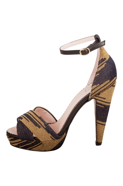 Item - Two Tone Knit Fabric and Leather Trim Ankle Strap Platform Size 38 Sandals