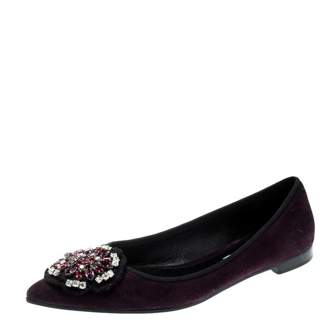 Item - Purple Crystal Embellished Suede Pointed Size 39.5 Flats