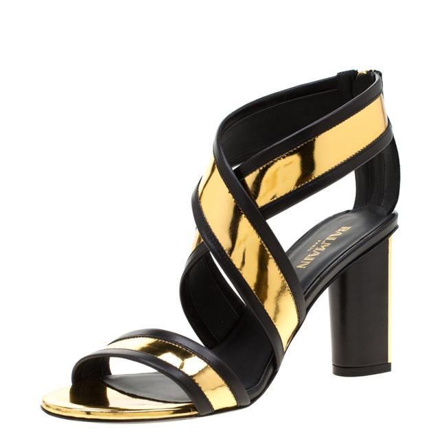 Item - Metallic Gold and Black Leather Cross Strap Block Size 36 Sandals