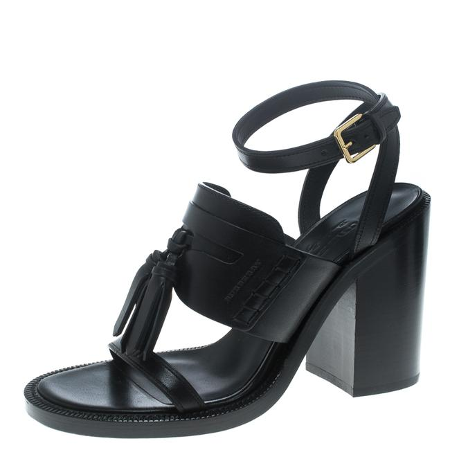 Item - Black Leather Bethany Tassel Detail Block Size 40 Sandals